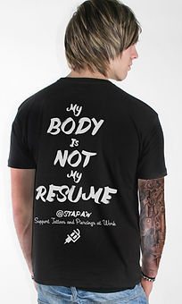 black t shirt, my body is not my resume, tattoo machine shirt, guys with tattoos