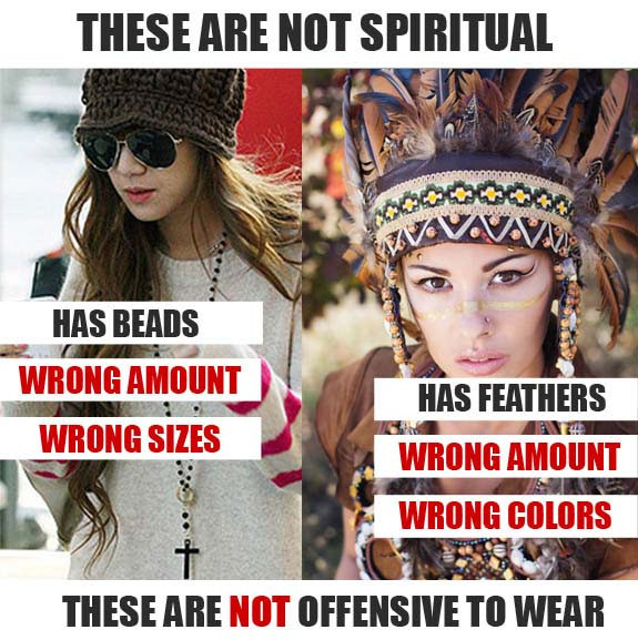 catholic rosary, indian headdress costume, cultural misappropriation, culture appropriation