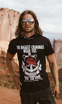 the biggest criminals wear ties not tattoos, tattooed and employed t shirt, shark shirt, anchor t-shirt, nautical
