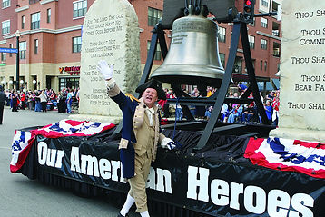 the landing, historic downtown, revolutionary war costume character, parade float