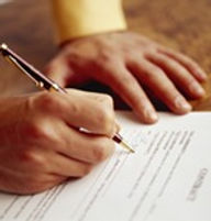signing with a pen, discrimination petition