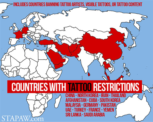 countries where tattoos are illegal, countries that ban tattoo artists, visible tattoos, communist, islamic