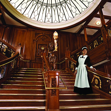 grand staircase, memorial room, costumed museum actors, cruise maid service