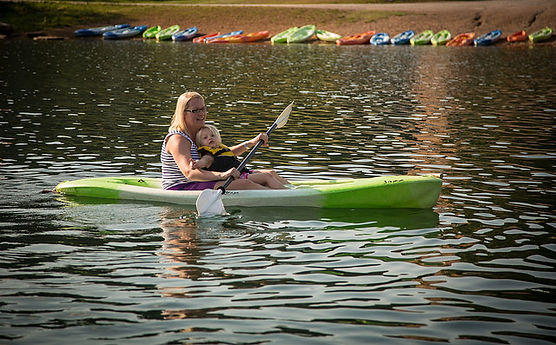 mother and daughter kayaking, child canoeing