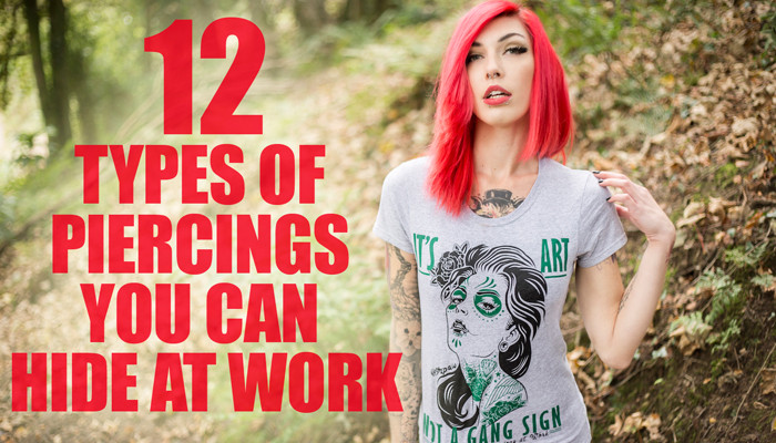 unnoticeable piercings, concealed piercings, tattoo shirts for women, alternative model, pink hairstyles