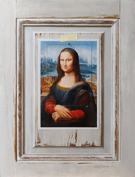 Jorge Alberto, Mona Lisa under glass - oil on panel - 20 x 15.25 inches, Jorge Alberto.jpg