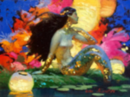 NIZOVTSEV Mermaid with Lantersn 9 x 12 $