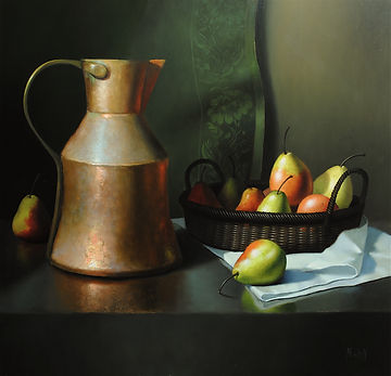 Copper Pot and Pears 20x20.JPG