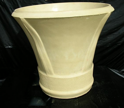 Large chilton style sandstone pot with frond imprint
