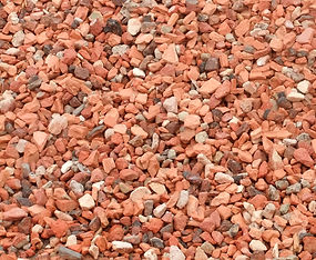 Crushed brick chips mixed colour but maimly red
