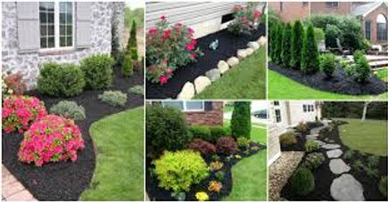 5 photos of various newly mulched gardens