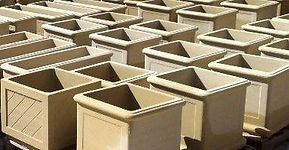 Various square sandstone pots large and small