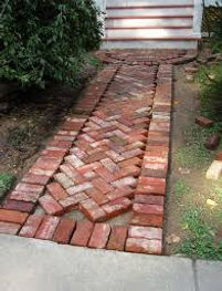 Recycled brick pathway under costruction