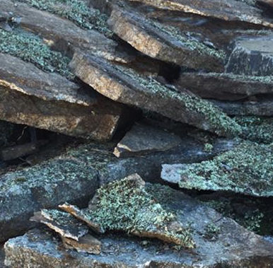 Random flat moss rock