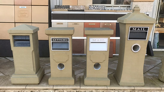 Various sandstone letterboxes cream & black inserts with junkmail slot