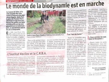 """Article du progrès sur Les pépinières CHAPELLE : """"Le monde de la #biodynamie est en marche"""""""