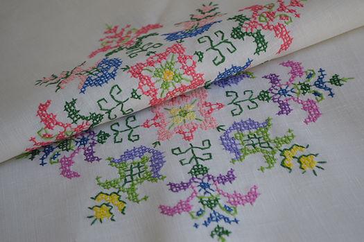 Irish Linen with Cross Stitch Embroidery