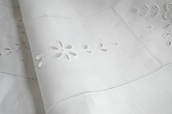 Irish LInen with Whitework embroidery