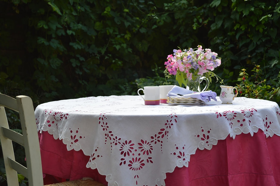 Irish Linen embroidered tablecloth