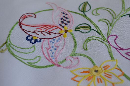 Hand embroidered Irish Linen