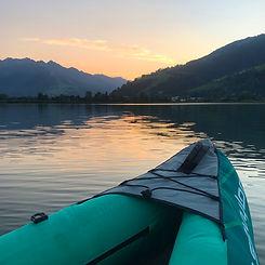 Water sports on Lake Zell. Kayaking on a lake