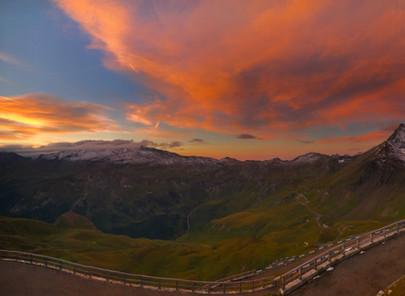 SUNRISE ON THE HIGH ALPINE ROAD