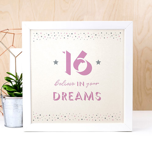 16th Birthday Pearl Typographic Art Print