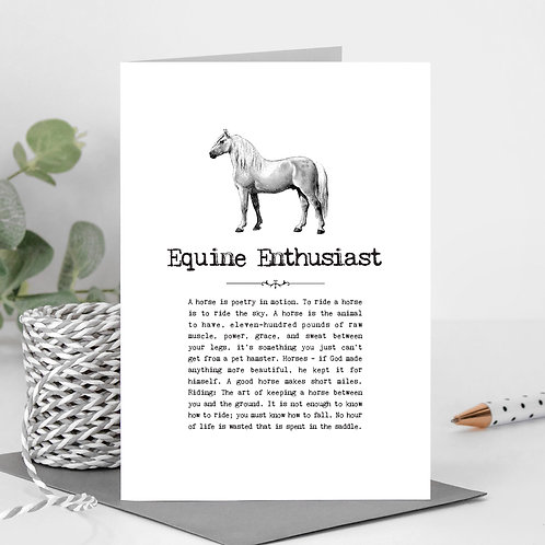 Equine Enthusiast Vintage Words Greeting Card x6