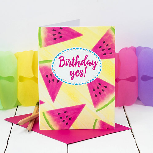 Birthday Yes! Tropical Watermelon Fruit Card