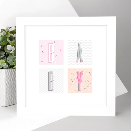 BABY Pink and Peach Geometric Square Print