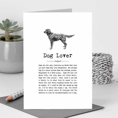 Dog Lover Vintage Words Greeting Card x6