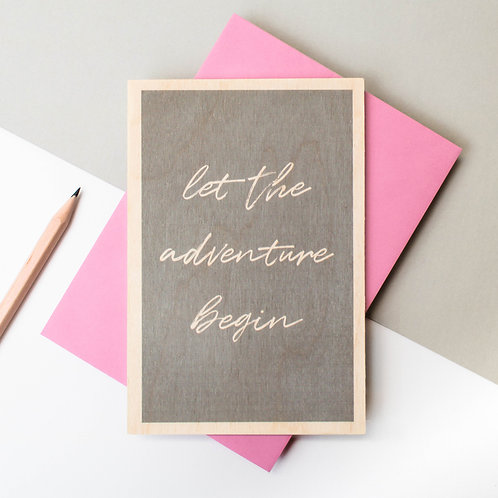 Adventure Begins Grey Wooden Keepsake Card