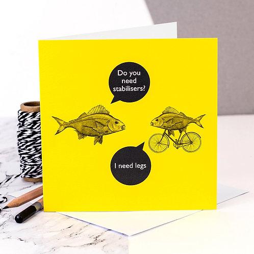 Cycling Funny Fish Card x 6