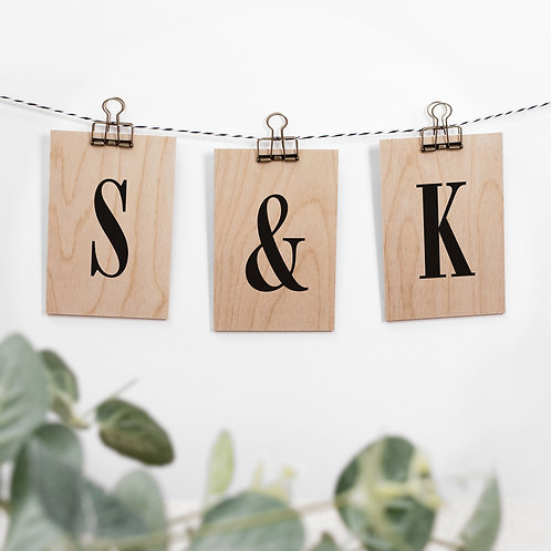 Custom Letter Initial Decorative Wooden Sign Set