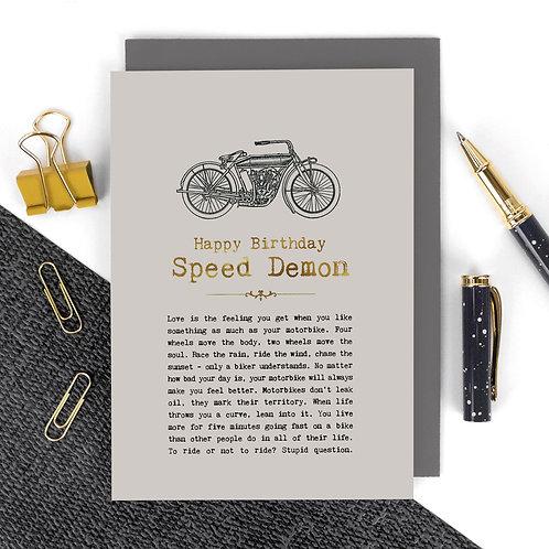 Speed Demon Vintage Motorbikes Birthday Card x 6
