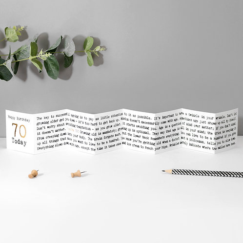 70th Birthday Mini Fold Out Greeting Card