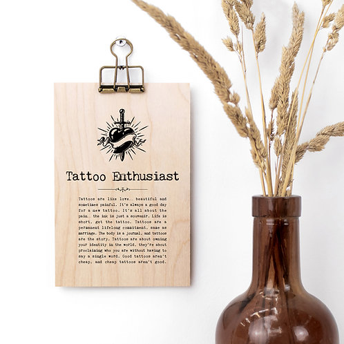 Tattoo Enthusiast Wooden Plaque with Hanger x 3