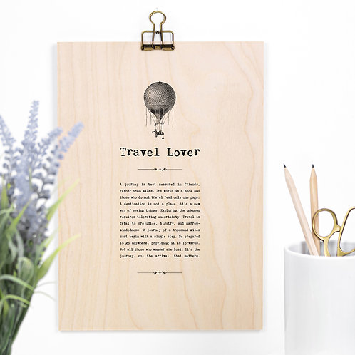 Travel Lover Wooden Sign with Hanger