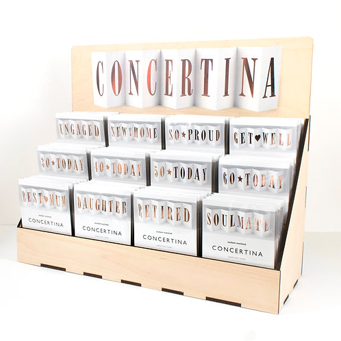 20 Packs of Concertinas + FREE POS Unit