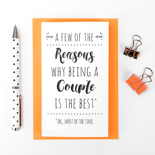 Reasons Why... Concertina Card for Couples x 6