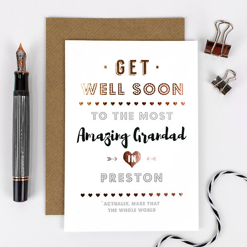Get Well Soon | Rose Gold Personalised Card x 6