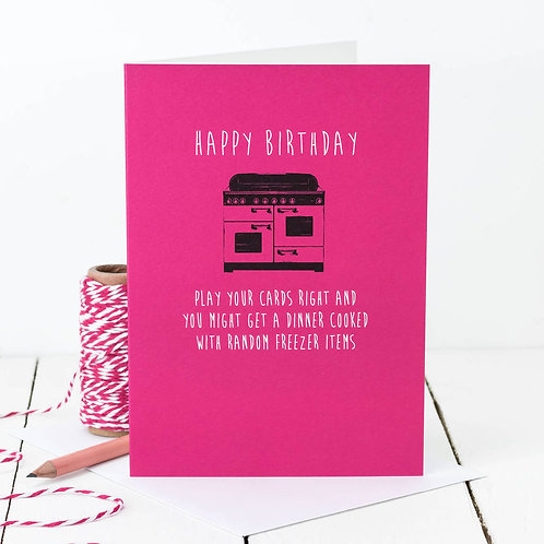Random Freezer Items Funny Birthday Dinner Card