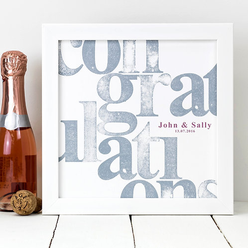 Congratulations! Hand-Stamped Personalised Print