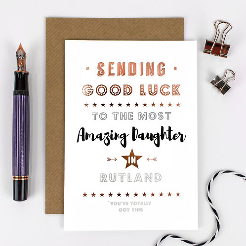 Good Luck | Rose Gold Personalised Card x 6