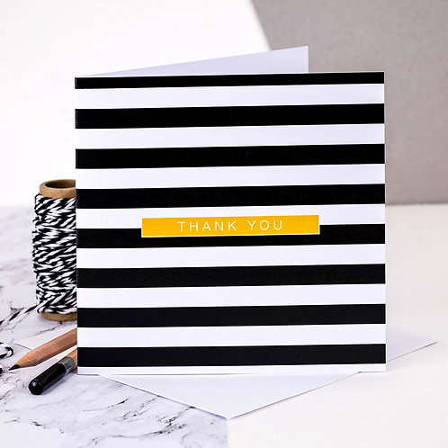 Pack of 10 Monochrome Stripe Thank You Cards