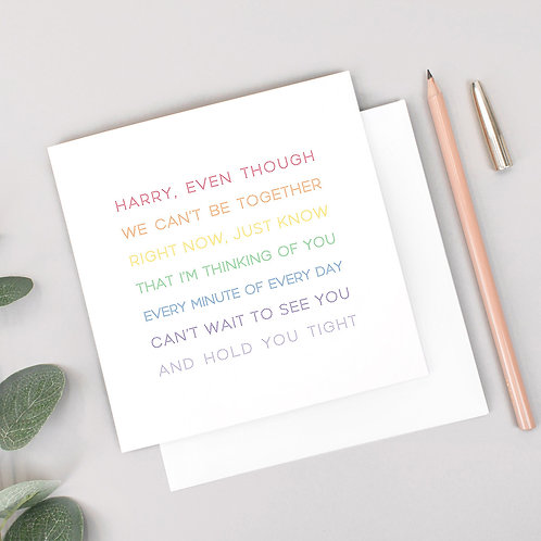 Rainbow Thinking of You Personalised Card for Loved Ones
