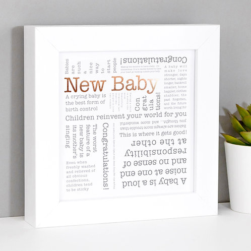 New Baby Word Cloud Framed Print x 3