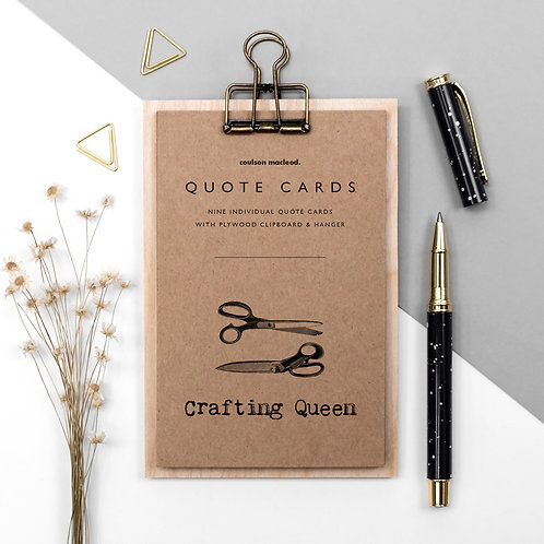 Crafting Queen Quote Cards on Mini Clipboard x 3