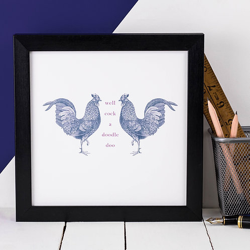 Rooster Vintage Animals Print x 3