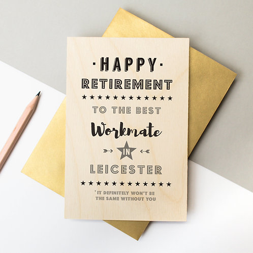 Retirement Personalised Wooden Keepsake Card x 6